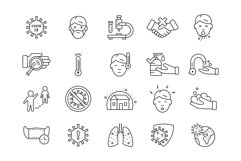 Coronavirus icons set, colored and outline style Product Image 2