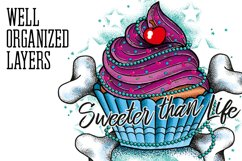 Cupcake Tattoo Style Vector Product Image 4