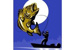 Largemouth Bass Fish Fly Fisherman Fishing rod Product Image 1