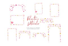 Pink Valentines frames, Heart wreaths, Pink borders clipart Product Image 2