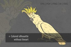 Cockatoo ink lineart, Parrot clip art, Bird vector file Product Image 3