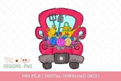Garden truck, red vintage truck, Sublimation design Product Image 1