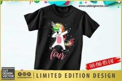 4th Birthday Unicorn SVG Product Image 1