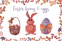 Doodle Easter Watercolor Set Clipart Hand Painted Illustrations Objects Product Image 4