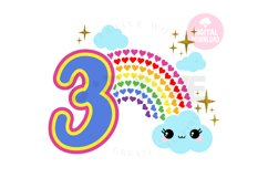 3rd Birthday svg | My 3rd Birthday svg | Rainbow Birthday Product Image 1