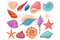 Cartoon seashells. Summer beach sea shells, underwater, ocea Product Image 1
