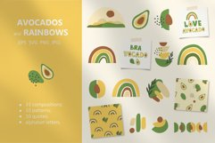 Avocados and Rainbows Set, Clipart, Patterns, Alphabet. Product Image 1