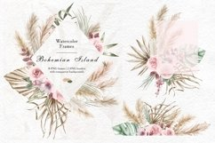 Watercolor tropical leaves and pampas grass geometric frames Product Image 1