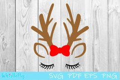 Reindeer Face SVG Reindeer Eyes SVG Reindeer Eyelash SVG Product Image 2
