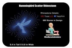 Scattered Hummingbird Rhinestone Template | Rhinestone SVG Product Image 1