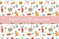 Watercolor Christmas digital paper, seamless pattern Product Image 5