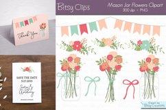 Mason Jar Flowers Digital Art Set Clipart Product Image 1