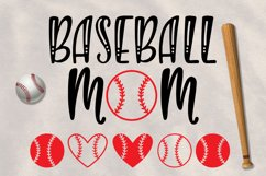 Baseball Mom and ball silhouettes. Hand drawn typography design. SVG DXF PNG EPS Cutting Files Product Image 2