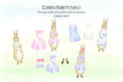 Cumbria Rabbit Family, Mum, Dad, Sisters, Watercolor Illustration  Product Image 6