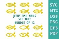 Jesus Fish Symbol Set #02 Bundle of 12 SVG Cut File Product Image 1