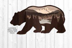 Bear Scene Layered Wall Sign SVG Glowforge Files Product Image 3