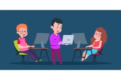 Kids coding at computers. Cartoon character children in comp Product Image 1