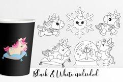 Cute Winter Unicorn Clipart Illustrations Bundle Product Image 2