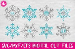 Monogram Snowflake Set - SVG, DXF, EPS Cut File Product Image 1