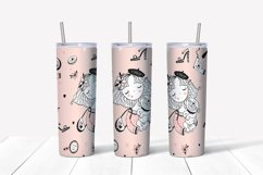 Girl with dog sublimation design. Skinny tumbler png Product Image 5