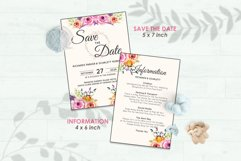 Wedding Invitation Set #5 Watercolor Floral Flower Style Product Image 3