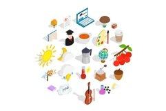 Academic year icons set, isometric style Product Image 1