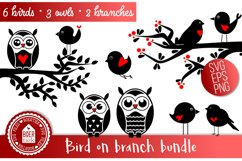 Bird on branch Bundle, SVG file Product Image 1