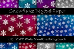 Snowflake Backgrounds - Winter Snow Digital Paper Product Image 1