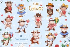 Cute Calves. Valentine clipart. Product Image 2