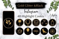 48 Gold Glitter Instagram Highlight Covers. Product Image 1
