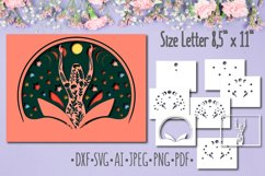 Papercut 3D Picture Woman in lotus Layered Design Product Image 1