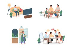 People with bad habits flat color vector character set Product Image 1