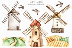 Watercolor Windmills. Cards, frames, wreaths, patterns Product Image 2