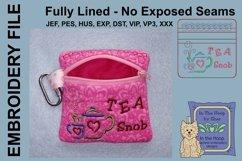 Tea Snob Tea Bag Holder Zipper Bag / Fully Lined, 4X4 HOOP Product Image 2