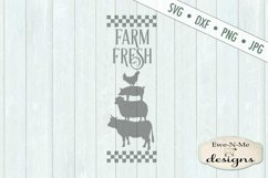 Farm Fresh Stacked Farm Animals Checked Border SVG DXF Files Product Image 3