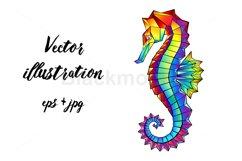 Rainbow Polygonal Seahorse Product Image 1