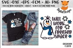Funny Snowman Will Work For Freezer Space Winter SVG Product Image 1