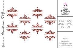 Christmas split monogram frame with snowflakes bundle SVG Product Image 1