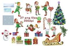 Elf kit watercolor,Christmas clipart,Santa's Helpers Png,jpg Product Image 2
