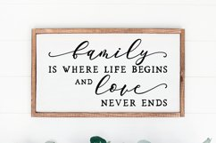 Family is where life sign svg - farmhouse home sign svg Product Image 1