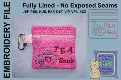 Tea Snob Tea Bag Holder Zipper Bag / Fully Lined, 4X4 HOOP Product Image 1