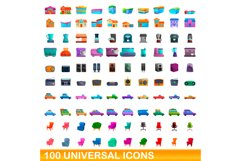 100 universal icons set, cartoon style Product Image 1
