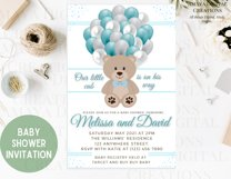 Teddy Bear Baby Shower Invitation, Digital File, Instant Product Image 4