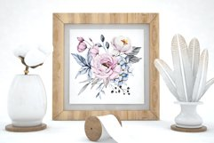 Watercolor pink and blue flowers arrangements, frames, ets. Product Image 4