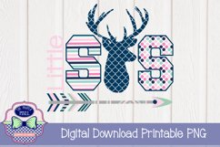 Deer Themed Little Sister Sibling Design Product Image 1
