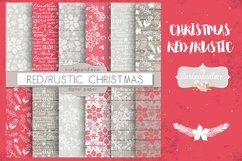 Christmas red rustic digital paper pack Product Image 1
