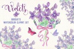 violets flowers watercolor clip art set Product Image 1