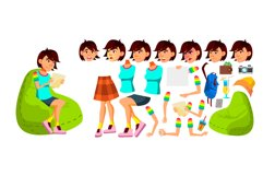 Asian Teen Girl Vector. Animation Creation Set. Face Product Image 1