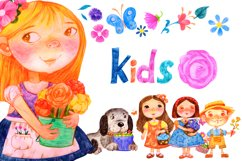 Kids. Girls. Flowers. set. PNG&PSD Product Image 1