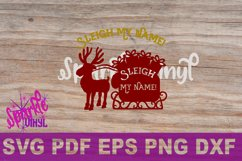 Svg Sleigh My Name funny Shirt Sign stencil Decal printable or svg cut file dxf eps png pdf for cricut or silhouette Product Image 3